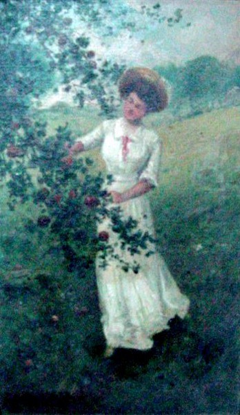 Lady In White Dress By Apple Tree