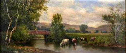 Mountain Landscape With Bridge And Cows