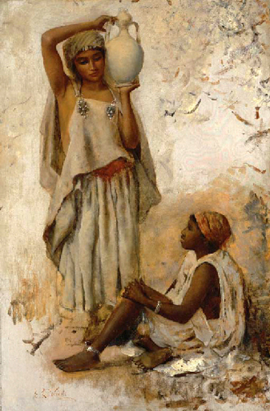 A Moorish Country Woman With A Jar And A Slave Girl