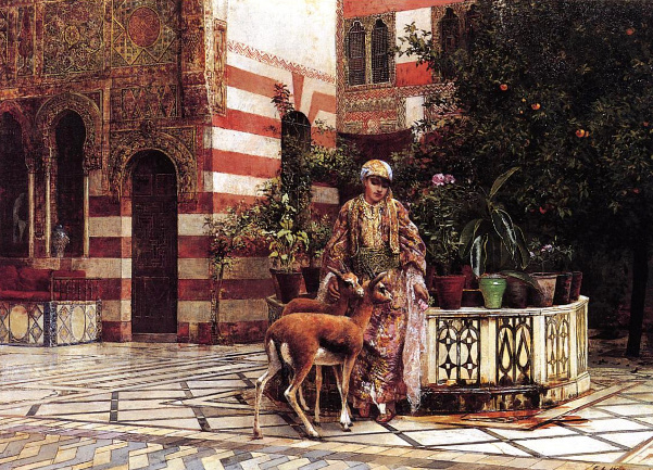 Girl In A Moorish Courtyard