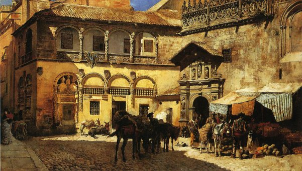 Market Square In Front Of The Sacristy And Doorway Of The Cathedral, Granada