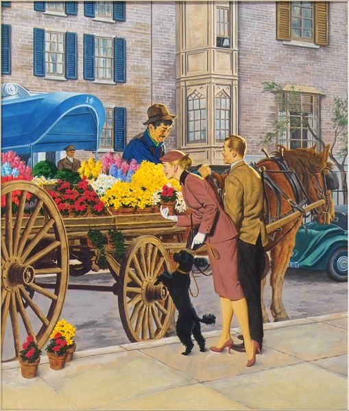 Couple Shopping At Horse Drawn Flower Cart