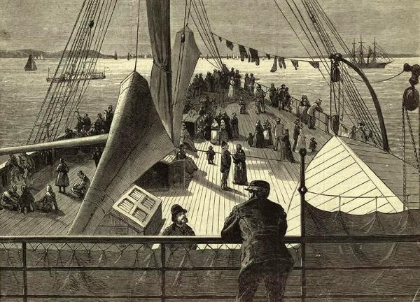 First Sight Of New York Bay - Arrival Of A European Steamer