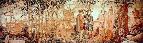 Henry Hudson Discovers River, 1609 - The Purchase Of Manhattan Island By The Dutch, 1626