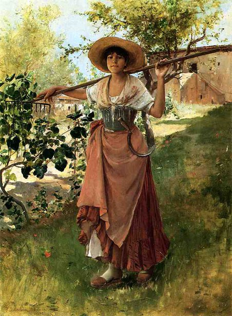 Italian Girl With Rake