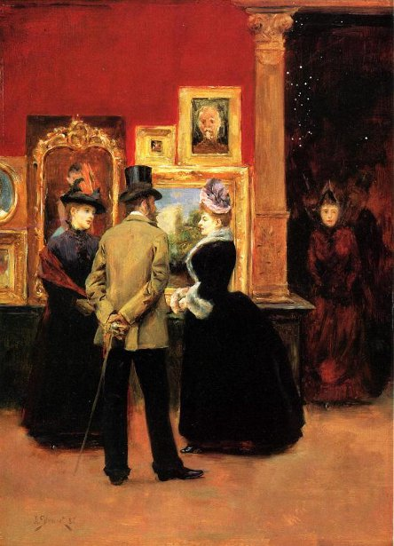 Ladies With A Gentleman In A Top Hat - Count Ludovic Leic And Ladies Wiewing An Exhibition