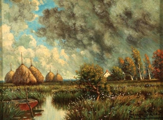 Landscape With Haystacks And Approaching Storm