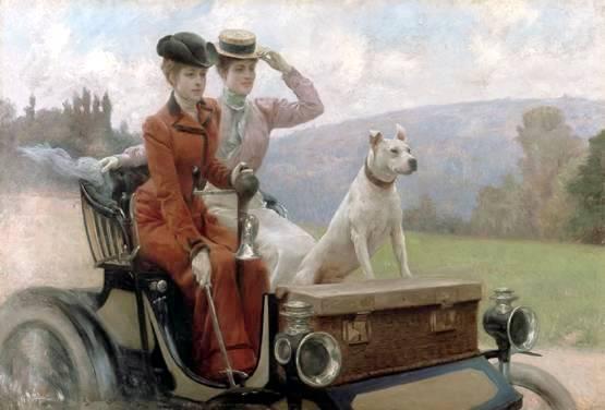 les-dames-goldsmith-au-bois-de-boulogne-sur-une-voiturette-peugeot