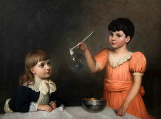 Marguerite Snow And Her Sister Making Bubbles