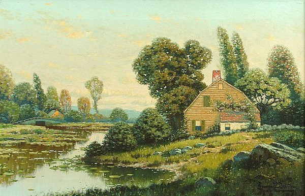 River Landscape With Cottage