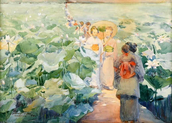 Strollers In The Lotus Blossoms - Eastern Blossoms