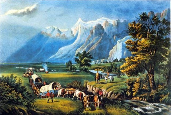 The Rocky Mountains - Emigrants Crossing The Plains