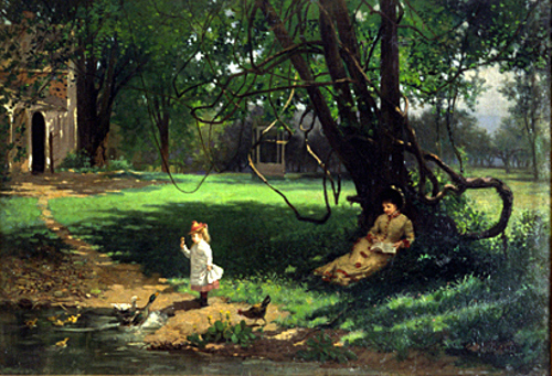 Woman And Child In South Yard Of Champney's House In Deerfield