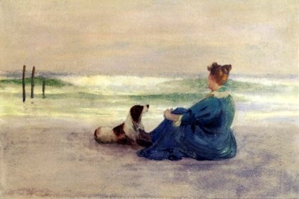Woman And Springer On The Beach