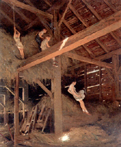 Children Playing In Hay Loft