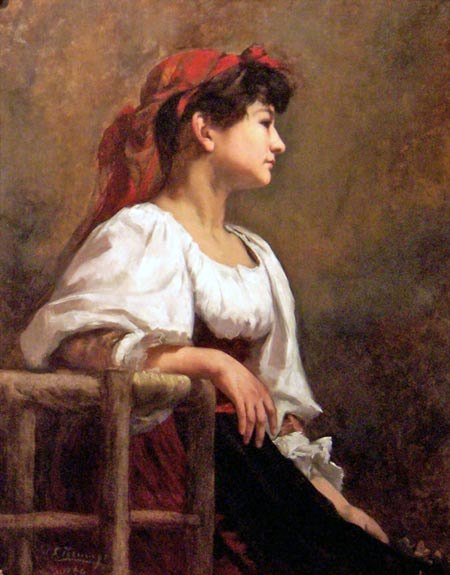 Portrait Of A Seated Woman - The Red Kerchief