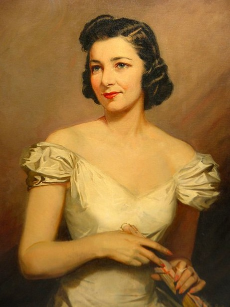 Black Haired Woman In White Gown