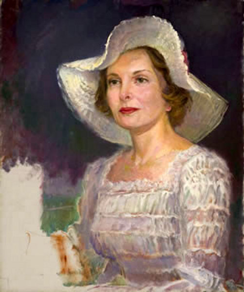 Blonde Lady With Large White Hat