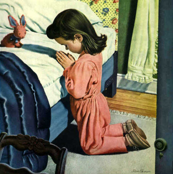 Girl Prays By Bed