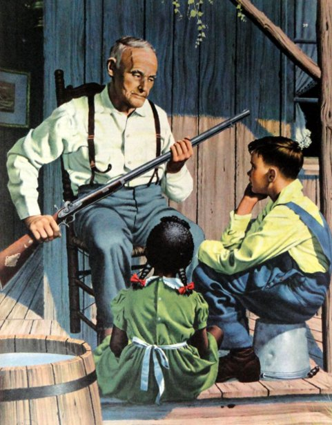 Man With Gun And Two Children