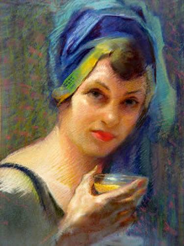 Self-Portrait In Blue Headdress