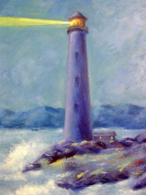 Lighthouse and Breaking Waves