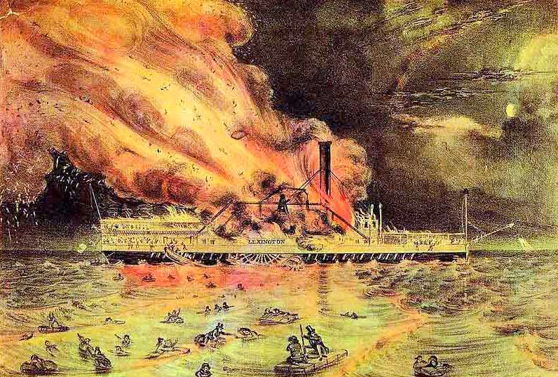 The Burning Of The Steamboat Lexington