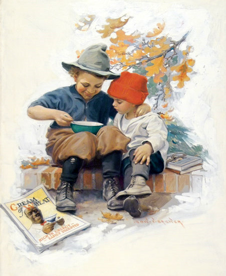 Two Children Sitting On Step Sharing Bowl Of Cereal