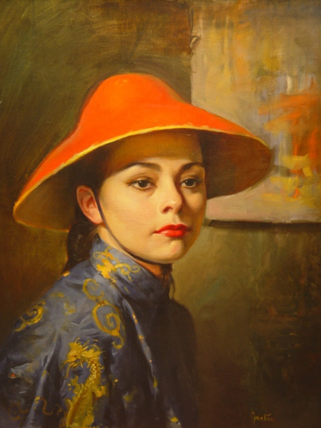 Woman Wearing Asian Hat
