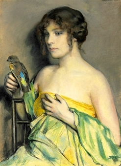 Woman With Parrot