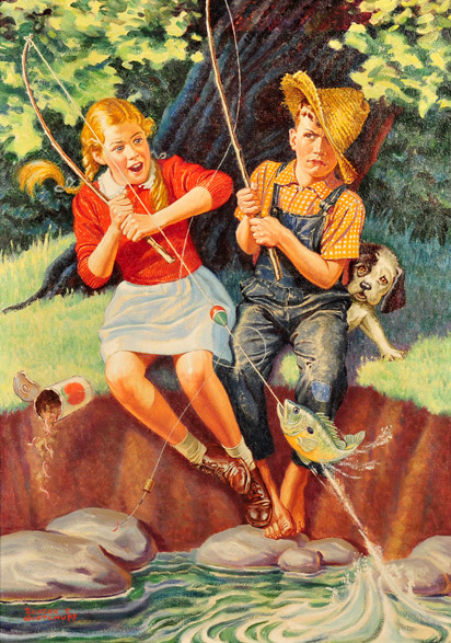 Young Girl And Boy Fishing