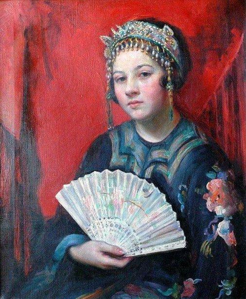 Young Woman Wearing A Chinese Kimono