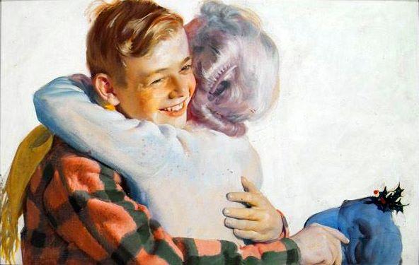 Boy Hugging Grandmother