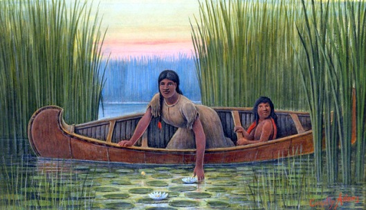 Indian Mother And Child In A Canoe
