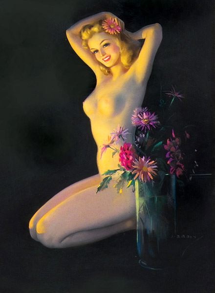 Kneeling Nude Placing Flower In Her Hair