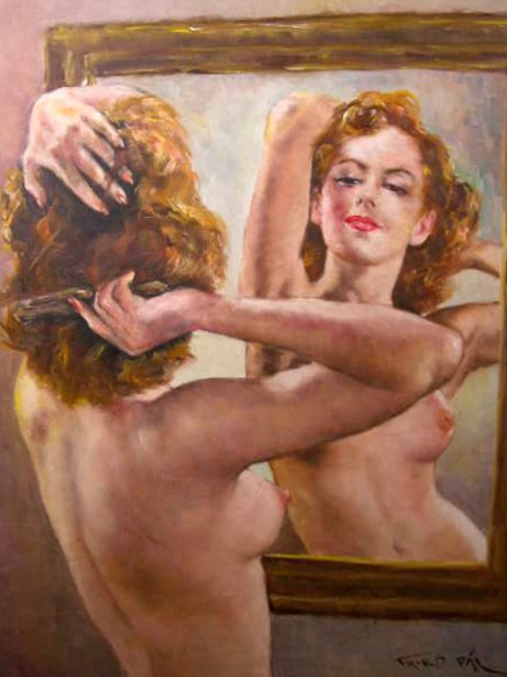 A Nude Woman Brushing Her Hair
