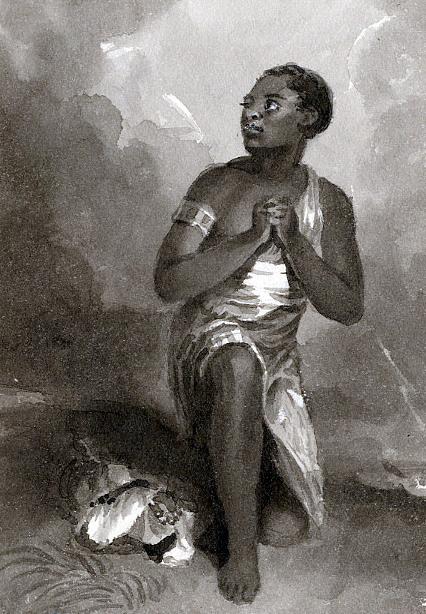 African Woman Kneeling In Prayer