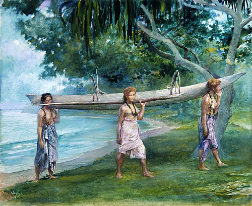 Girls Carrying A Canoe, Vaiala In Samoa