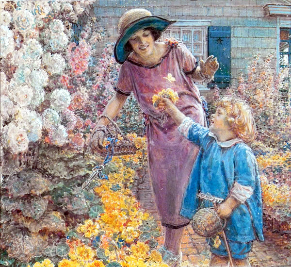 Mother And Child In A Flower Garden