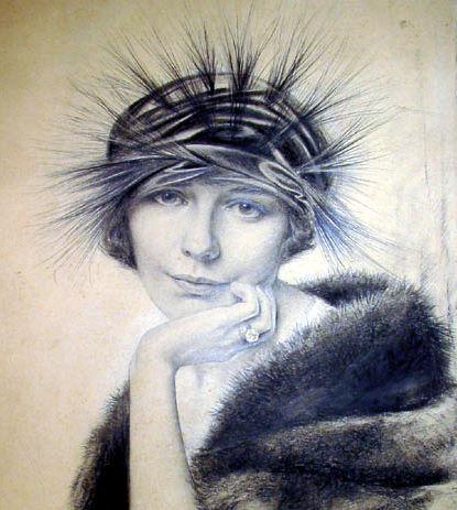 Portrait of Peggy Hoyt In Art Nouveau Hat