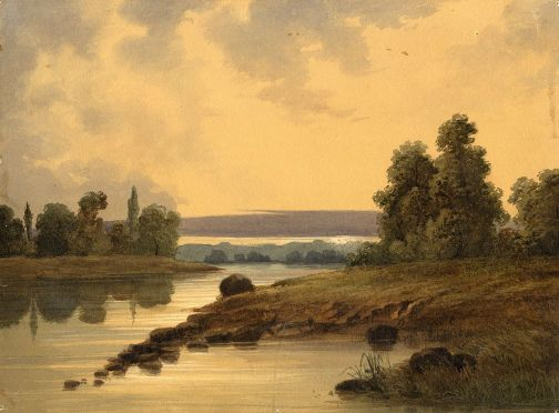 Landscape At Sunset With River And Trees