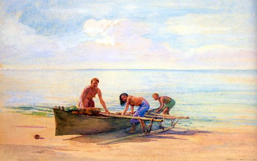 Women Drawing Up A Canoe