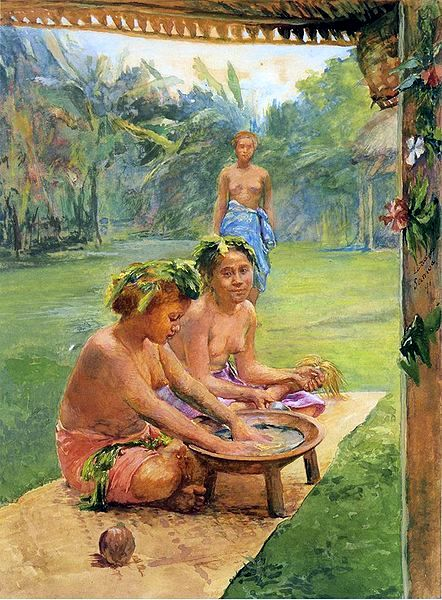 Young Girls Preparing Kava
