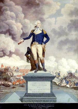 A Portrait Of general Washington Against The Backdrop Of A Battle Scene
