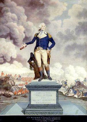 A Portrait Of general Washington Against The Backdrop Of A Battle Scene