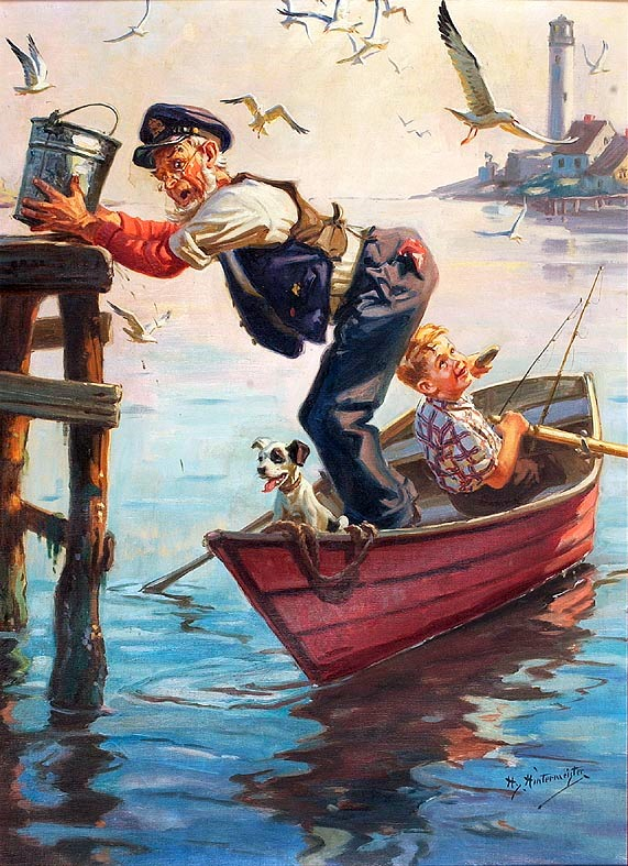 An Old Man, A Boy And His Dog In A Rowboat