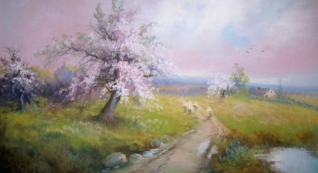 Rare Sheep And Flowering Trees