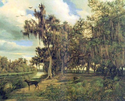 Lowland Landscape With Deer