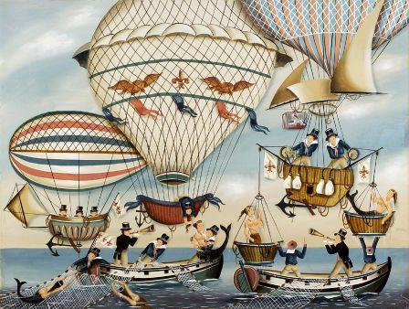 Sailors In Three Hot Air Balloons