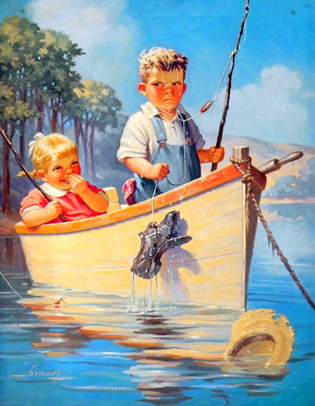 Young Boy And Girl On Boat